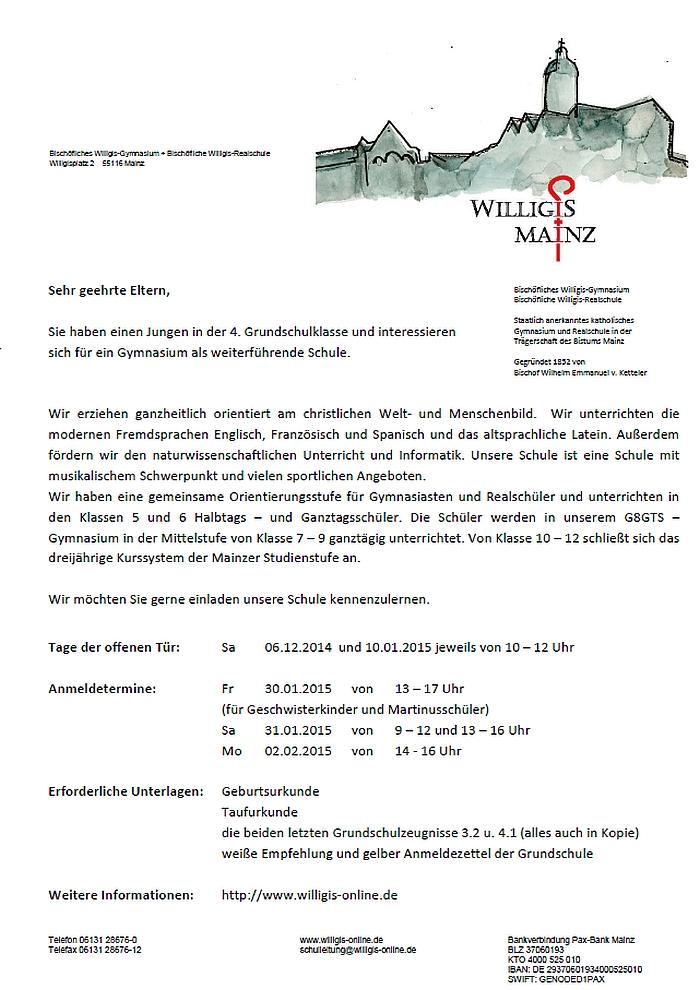 Infoblatt zur Anmeldung am Willigis
